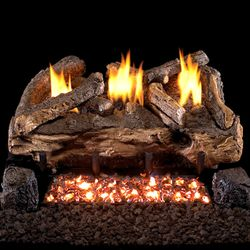 Peterson Real Fyre Evening Fyre Split Ventless Refractory Gas Log Set
