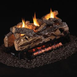 Peterson Real Fyre Split Oak See Through Ventless Gas Log Set