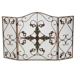 Petite Chancellor Antique Copper 3-Panel Fireplace Screen