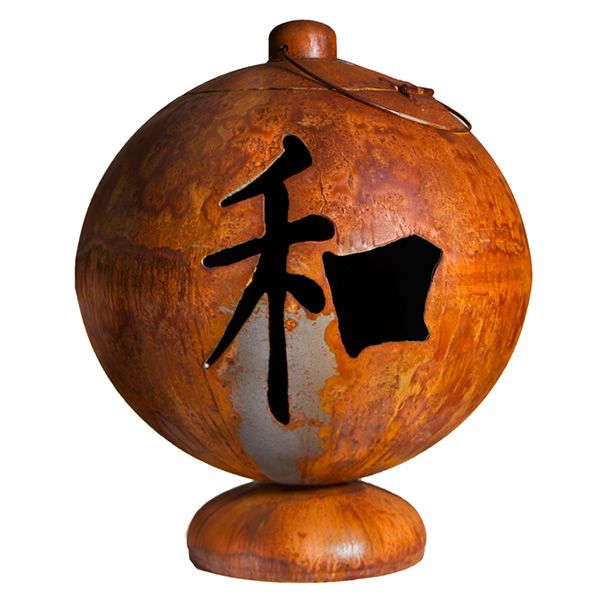 Peace, Happiness, and Tranquility Wood Burning Fire Globe image number 0