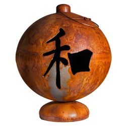Peace, Happiness, and Tranquility Wood Burning Fire Globe