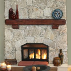 Pearl Shenandoah Cherry Rustic Fireplace Mantel Shelf