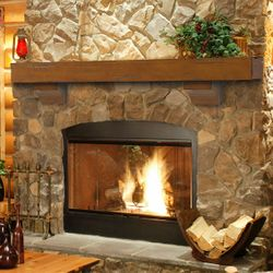 Pearl Shenandoah Medium Rustic Fireplace Mantel Shelf