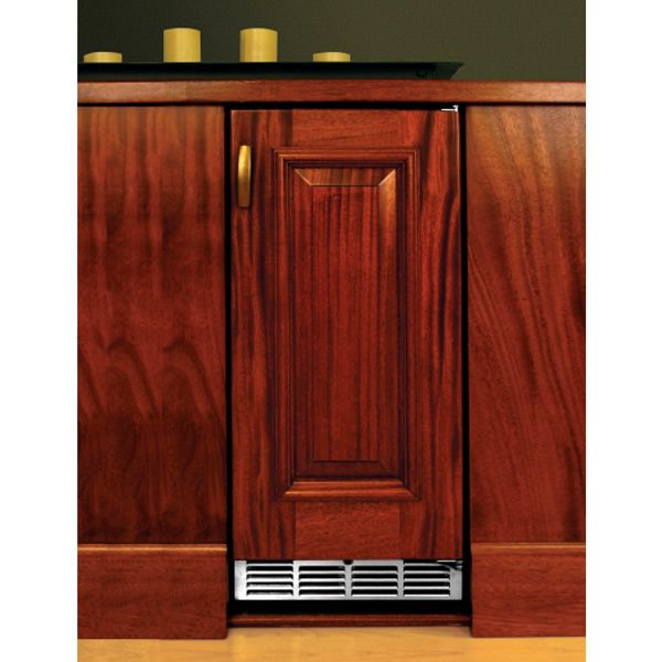 "Perlick Stainless Steel Outdoor Refrigerator with Solid Wood Overlay Door - 15"" image number 0"
