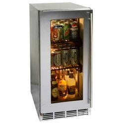 """Perlick Stainless Steel Outdoor Refrigerator with Glass Door - 15"""""""