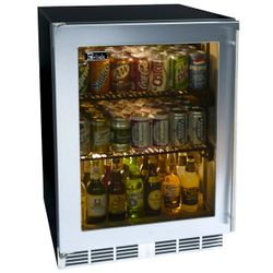 Perlick Stainless Steel Outdoor Refrigerator with Glass Door - 24""