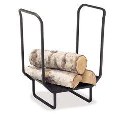 "25"" Wide Indoor Firewood Rack - Matte Black"