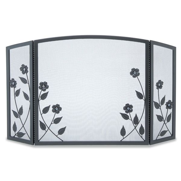 Forged Floral Three Panel Fireplace Screen image number 0