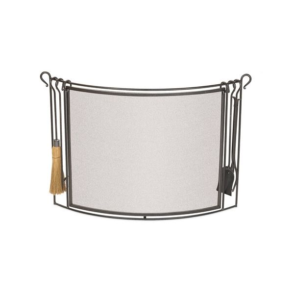Bowed Fireplace Screen with Fireplace Tools image number 0