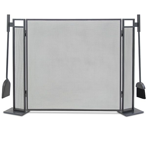Blackshear Three Panel Fireplace Screen with Tools image number 0