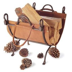 Folding Indoor Firewood Rack with Carrier - Burnished Bronze