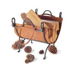 Folding Indoor Firewood Rack with Carrier - Vintage Iron
