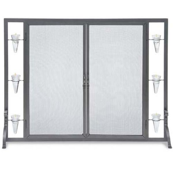 Flat Tea Light Fireplace Screen with Full Height Doors image number 0