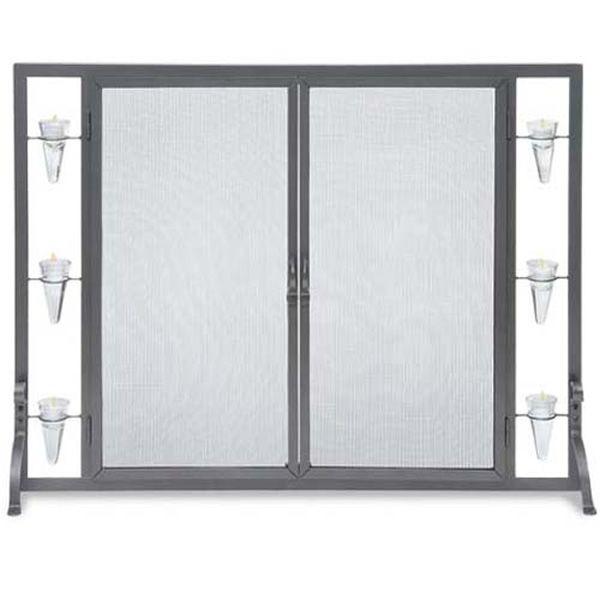 Flat Tea Light Fireplace Screen with Full Height Doors image number 0