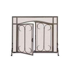 "Pilgrim Iron Gate Arched Fireplace Screen Door- 39""W x 31""H"
