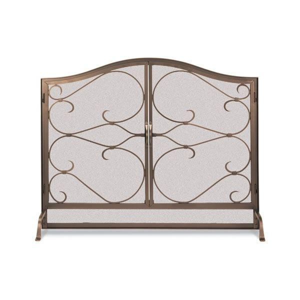 """Classic Iron Gate Arched Fireplace Screen with Door - 44"""" x 33"""" image number 0"""