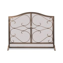 "Classic Iron Gate Arched Fireplace Screen with Door - 44"" x 33"""