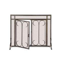 Pilgrim Iron Gate Fireplace Screen Door-Burnished Blk- 44x33