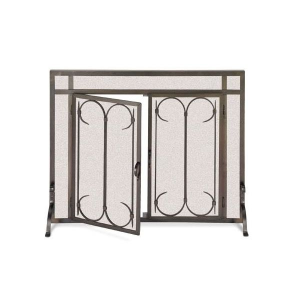 "Iron Gate Fireplace Screen Door-Burnished Black-39"" x 31"" image number 0"