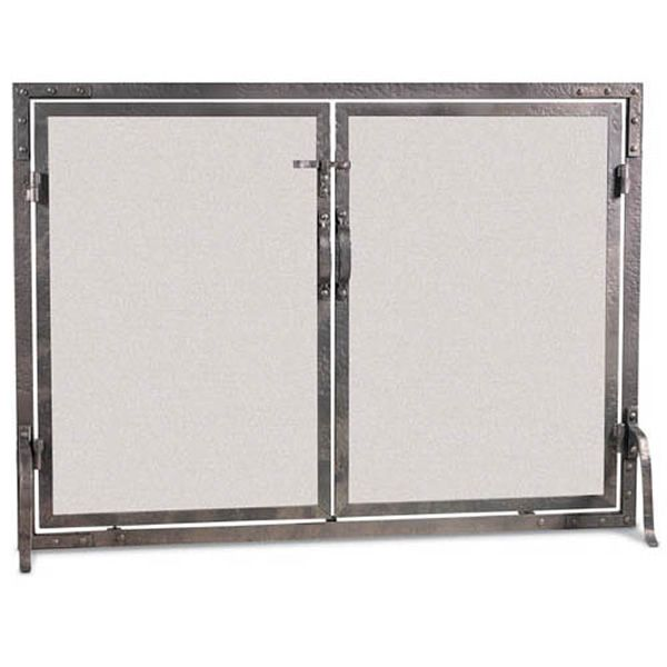 Old World Flat Fireplace Screen with Doors image number 0
