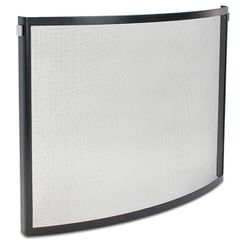 Pilgrim Single Panel Odessa Bowed Screen-Blk/Polished Nickel