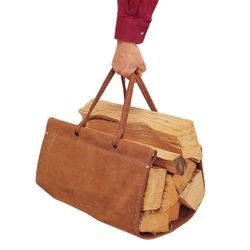 Top Grain Brown Suede Log Carrier