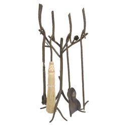 Pine Fire Tool Set w/ Black Broom