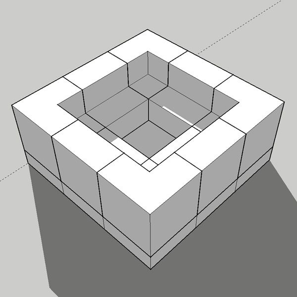 """Pre-Engineered Square Masonry Fire Pit - 48"""" image number 3"""