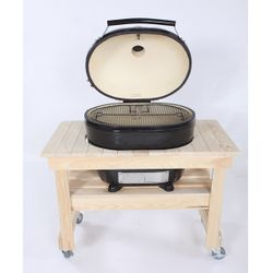 Primo Compact Cypress Table for Oval XL Kamado BBQ Grill