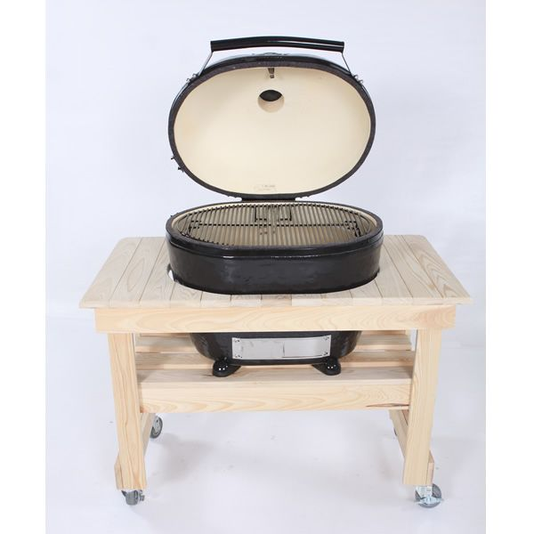 Primo Compact Cypress Table for Oval XL Kamado Grill image number 0