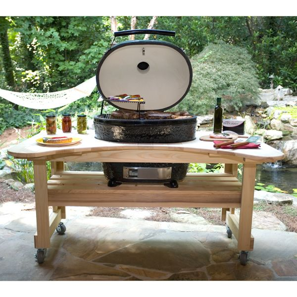 Primo Extra Large Oval Kamado Grill with Cypress Table image number 1