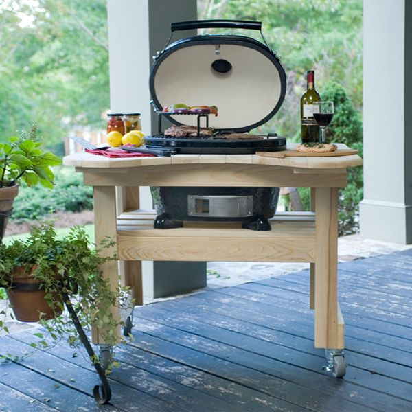 Primo Oval Junior Kamado Grill with Cypress Table image number 1