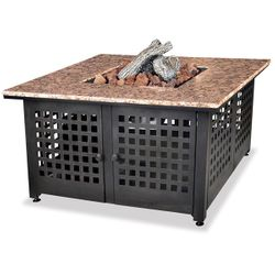 Propane Gas Outdoor Fire Pit with Granite Mantel