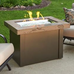 Providence Crystal Gas Fire Table - Marbleized Noche