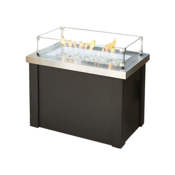 Providence Crystal Gas Fire Table - Stainless Steel image number 1