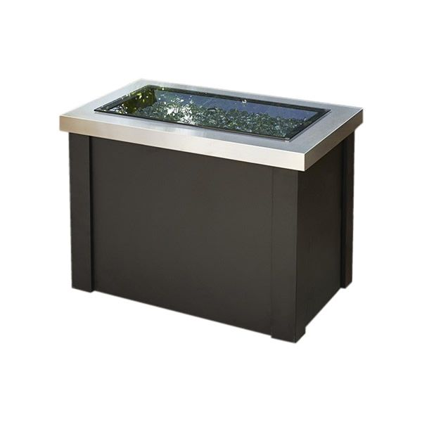 Providence Crystal Gas Fire Table - Stainless Steel image number 2