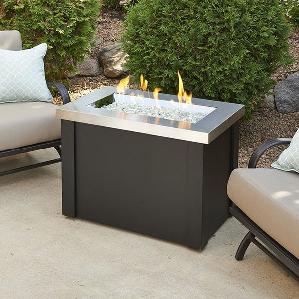 Providence Crystal Gas Fire Table - Stainless Steel image number 0