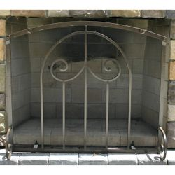 "Provincial Forged Iron Arched Fireplace Screen 47""W x 35""H"