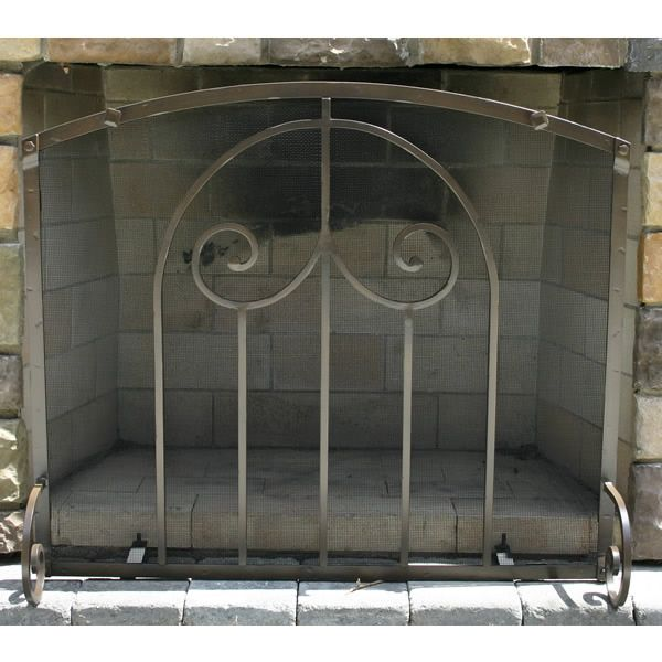 """Provincial Forged Iron Arched Fireplace Screen 38""""W x 32""""H image number 0"""