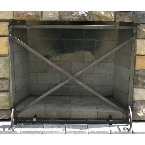 """Provincial Forged Iron Fireplace Screen 38""""W x 32""""H image number 0"""