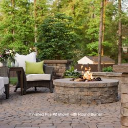 """Electronic Round Gas Fire Pit Burner System - 25"""""""
