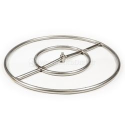 Round Double Ring Stainless Steel Gas Fire Pit Burner - 24""
