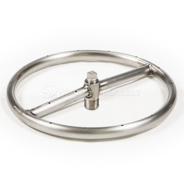 "Round Single Ring Stainless Steel Gas Fire Pit Burner - 12"" image number 0"