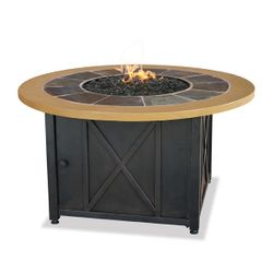 Uniflame Round Propane Fire Pit with Slate/Faux Wood Mantel