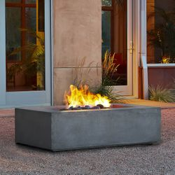 Real Flame Baltic Rectangle Fire Table - Glacier Gray