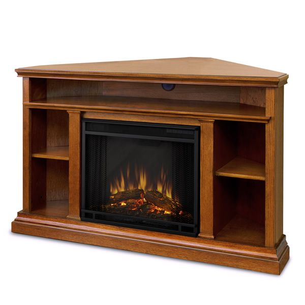Real Flame Churchill Corner Electric Fireplace - Oak image number 1