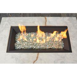 "Rectangular Black Crystal Fire Burner System – 12"" x 24"""