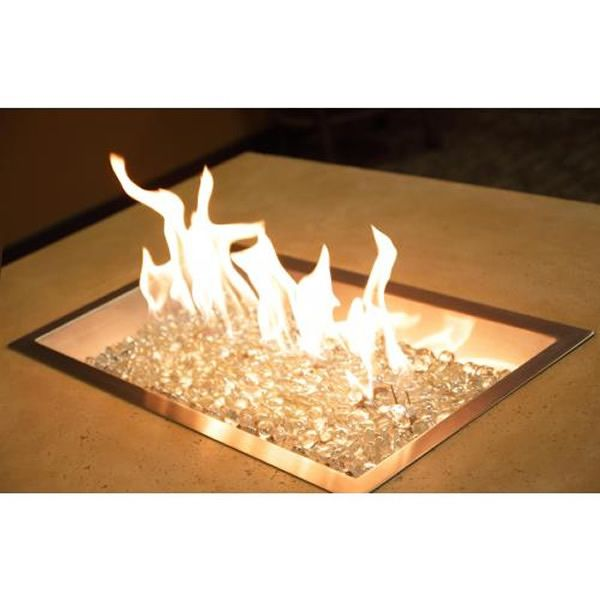 "Rectangular Stainless Steel Crystal Fire Burner – 24"" image number 1"