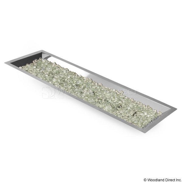 "Rectangular Stainless Steel Crystal Fire Burner – 42"" image number 3"