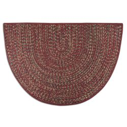 Red - Multi-Colored Braided 4' Fireplace Hearth Rugs